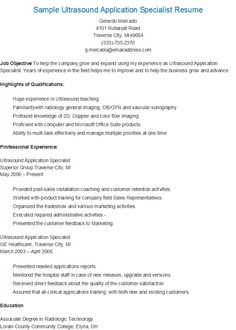 sample ultrasound application specialist resume - Ultrasound Resume