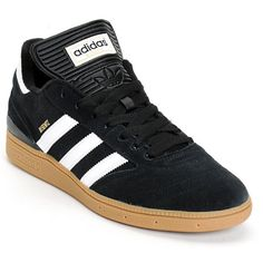 The Dennis Busenitz pro model takes inspiration from the Copa Mundial soccer shoe with a low-profile black suede upper, cupsole construction, padded removable double length tongue that can be cut off to become shorter, vector tread gum bottom outsole, nano heel cushioning for comfort and padding, reinforced toe box, Geofit technology for a good fit, and white and gold Adidas logo detailing throughout.