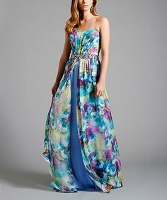 This Blue Floral Sabine Gown by Dresses by Lara is perfect! #zulilyfinds