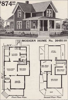 Large list of traditional home floor plans -- antiquehomestyle.com --1916 Sears - No. 264B110