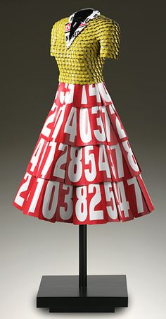 Ethel, bottle caps and vintage sign numbers by John Petrey Paper Fashion, Fashion Art, Fashion Show, Fashion Design, Recycled Dress, Textiles, Recycled Fashion, Couture Fashion, Wearable Art