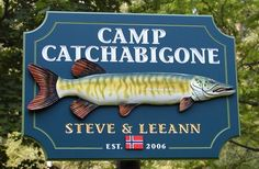 Fishing Signs - If fishing is what you love, then Danthonia is the handcrafted sign maker with the experience you need. Typography Letters, Lettering, Fish Artwork, Lake House Signs, Fishing Signs, Sign Maker, River House, Street Signs, Home Signs