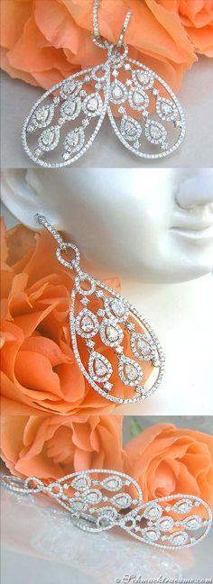 Terrific Diamond Chandelier Earrings, 3,91 cts. g-vsi/vvsi WG-18K - Visit: schmucktraeume.com - Like: https://www.facebook.com/pages/Noble-Juwelen/150871984924926?ref=hl - Mail: info@schmucktraeume.com