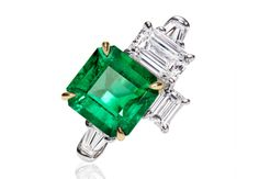 Central Park by Harry Winston Emerald and Diamond Three Stone Ring