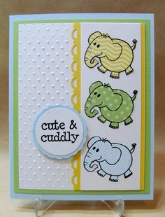 Handmade Baby Card with cute little Elephant by Savvy Handmade dolls lose yourself valentine cards Boy Cards, Kids Cards, Cute Cards, Oyin Handmade, Handmade Baby, Handmade House, Handmade Ideas, Handmade Dolls, Handmade Rugs