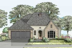 (Exterior to Compact French Country House Plan - Country Stil, French Country House Plans, French Country Kitchens, French Country Bedrooms, French Country Cottage, French Country Style, French Country Decorating, Cottage Decorating, Country Blue