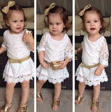 2015 Fashion Baby Kids Girls Princess White Flower Formal Lace Tutu Dress 2-11Y(China (Mainland))