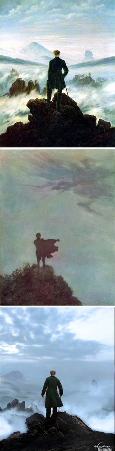 """Top: Caspar David Friedrich, Wanderer above the Sea of Fog, 1918 (source: link). Center: """"Alone"""" by Edmund Dulac, 1919, from Poetical Worlds of Edgar Allan Poe (http://metamythic.com/the-poetical-works-of-edgar-allan-poe-illustrated-by-edmund-dulac/). Bottom: Digital art by Jacques Leyreloup, France (http://jacquesleyreloup.deviantart.com)"""