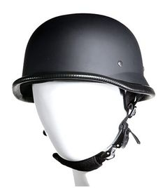 German Novelty Flat Black Helmet With Adjustable Chin Strap Not DOT approved
