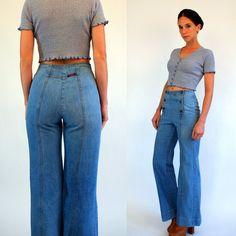 Vintage 70s LANDLUBBER Denim Sailor Bellbottoms. High Waist Medium Rinse Hippie boho Jeans. Flare Trousers Pants. Extra Small - Small 36 26 by BluegrassVoodoo on Etsy