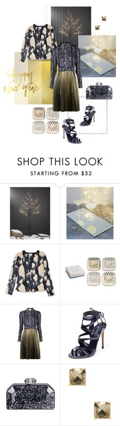 """New Year Party at the Office"" by valeria-mezhevikina ❤ liked on Polyvore featuring The White Company, Jovonna, Rosanna, 3.1 Phillip Lim, Casadei, Judith Leiber, Alanna Bess, metallic, shirtdress and officeparty"