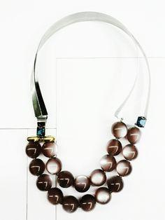 Light echo, necklace steel , oxidized silver, bronz, london blue quartz, spheres resin#ZERO43