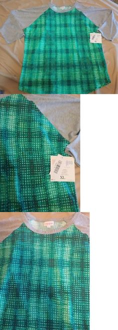Tops and Blouses 53159: New Lularoe Randy Baseball Tee T-Shirt Green White Abstract Gray Sleeves Xl -> BUY IT NOW ONLY: $30.95 on eBay!