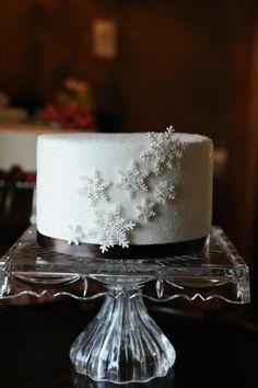 Gumpaste Snowflakes On Fondant Cake Covered In Sanding Sugar Gumpaste snowflakes on fondant cake covered in sanding sugar.