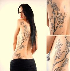Tatuagem feminina flores japonesas nas costas preta