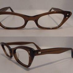 3dcc0f7fef8 Vintage Styl Rite Optics Stacy Brown Smoke 46 20 Cateye Eyeglass Frames