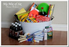 Summer is over, but this is too cute not to pin. It's an 'End of School' basket/bin...but would also make a great 'Summer Is Here' gift. Includes soda, movie candy, roasting sticks for marshmellows, a hiking book, road trip map, water balloons, sketch books, a small bag of change for garage sales, bubbles...and other fun items.