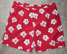 Chaps Tropical Print Board Shorts Men's Swimming Trunks Large Hibiscus Aloha! #Chaps #Trunks