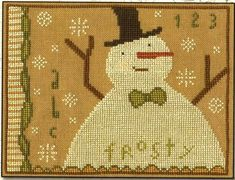 Choose Pattern Only or Pattern with Floss Kit from the drop down box, and Add to Cart. The floss kit includes the pattern and all flosses necessary to complete the project. If the flosses used on the model are not available, we will substitute with a color that is a very close match.  Another wonderful primitive folk art design by Teresa Kogut, Frosty is worked in beautiful primitive colors. Features Frosty front and center enjoying a sky full of big snowflakes.  Once completed, this piece…
