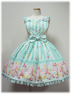 Angelic Pretty » Skirt » Fruits Parlor Skirt - The apron part and waist ties were sold on.