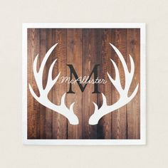 $41.25 · Rustic White Deer Antlers Barn Wood - Personalized Napkin #rustichomedecor #rustichouse