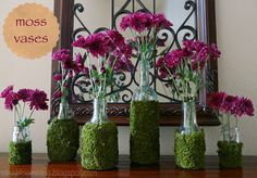 Moss Vases-use glue and sheet moss (recycled glass jars) easy and fun.  Spring project.