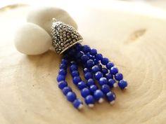 Artisanal Handmade Dark Blue Jade Tassel Gemstone by FoxyBeadsCo