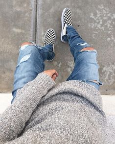 Check out for daily fashion looks. Outfit by ✅ Sweater - Jeans - HM Custom  Shoes -… a3e4d5025ac9