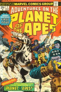 Adventures On The Planet Of the Apes #1, October 1975, cover by Rich Buckler and Joe Sinnott
