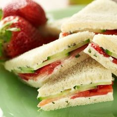 Strawberry & Basil Tea Sandwiches with Devonshire Cream - perfect for a special Spring day!