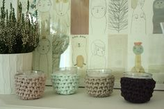 SET OF 3 Little Candles with Crochet Covers choose di LovePastels, €10.00