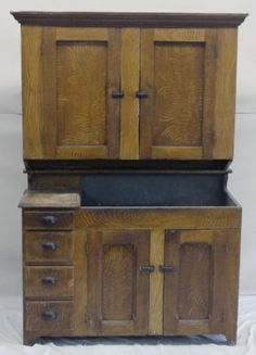 Pennsylvania Two Part Grain Painted Cupboard Over Dry Sink, C. 1860