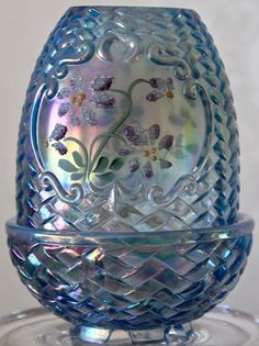 Fenton Fairy Lamp Blue Iridescent Carnival Glass Egg Hand Painted Signed  1990u0027s