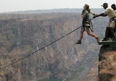This is the Devils Swing, alongside Victoria Falls on the Zambia side. Still trying to think why I thought this was a good idea at the time. Parkour, Base Jump, Picture Writing Prompts, Victoria Falls, Bungee Jumping, Leap Of Faith, Adventure Awaits, Places To See, Scary Places
