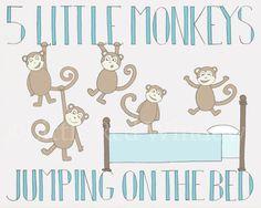 5 Little Monkeys Jumping on the Bed Nursery Typography Printable Print  -- INSTANT DOWNLOAD -- 8 x 10 --Nursery Art Print