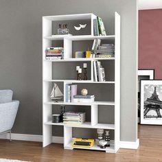 Estante Versatil Branco Mobly - R$ 289,99 Living Room Display Cabinet, Bookcase, Decor Design, Corner Bookcase, Interior, Shelving Unit, Bookshelves, Room, Room Display