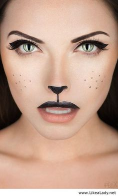 How-To: Black Cat Makeup Halloween How-To: Black Cat Makeup Perfect for Wizard of Oz, Cowardly Lion! Halloween How-To: Black Cat Makeup Perfect for Wizard of Oz, Cowardly Lion! Costume Halloween, Chat Halloween, Halloween Makeup Looks, Halloween Photos, Halloween Halloween, Pretty Halloween, Halloween Painting, Bunny Costume, Adult Cat Costume