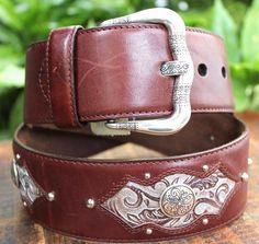 BRIGHTON Brown Leather Womens Embellished  Belt M 32 #Brighton