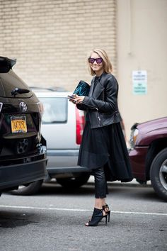 No. 15 — Jessica Minkoff  Call this outfit the solution to when you wake up feeling bloated. The billowy dress mixed with cropped leather pants and heels is equal parts flattering and disguising.
