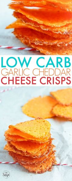 Low carb garlic cheddar cheese crisps are keto-friendly and are super easy to make & will satisfy your cravings for chips and salty snacks. Eat alone or with a low carb dip! via easy snacks Low Carb Garlic Cheddar Cheese Crisps Keto Snacks, Snack Recipes, Cooking Recipes, Dinner Recipes, Dessert Recipes, Keto Foods, Appetizer Recipes, Paleo Appetizers, Keto Desserts