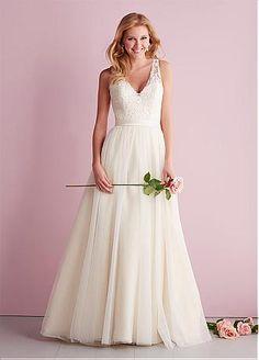 Buy discount Amazing Tulle A-line V-neck Neckline Natural Waistline Wedding Dress at Dressilyme.com