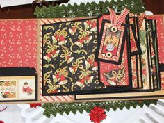 A Beautiful Vintage Style Christmas Scrapbook Album to fill with cherished family memories and journaling spots to write about your Christmas fun. Makes a wonderful Christmas gift as well! Uses Graphic 45 Christmas Paper  Mini Album measures 6.5 x 6  Inside pages are 6 by 5 with a 5 3/4 by 4 3/4 matting for photos. There are 6 flaps that open for journaling,  12 pages for photos and two to four more photos could slide in the cover pockets or these could hold memorabilia.  A gorgeous…