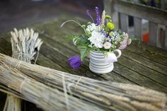 Pretty purple wild flowers for rustic wedding
