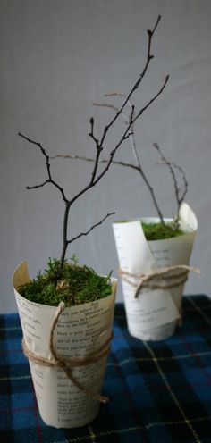 Paper Cup cleverness! use music sheets instead. For our plant favors.