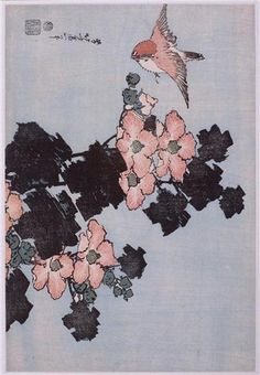 Hibiscus and Sparrow by Katsushika Hokusai. Ukiyo-e. bird-and-flower painting. Guimet Museum, Paris, France