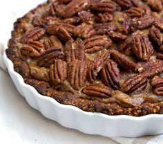 Pecan Pie - vegan and gluten-free from Deliciously Ella Clean Eating Recipes For Dinner, Gluten Free Recipes For Dinner, Healthy Gluten Free Recipes, Gluten Free Desserts, Vegan Recipes, Healthy Vegan Desserts, Healthy Sweet Treats, Vegan Treats, Healthy Dessert Recipes