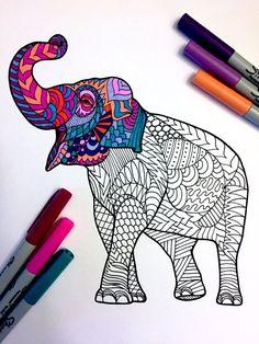 Asian Elephant PDF Zentangle Coloring Page von DJPenscript auf Etsy