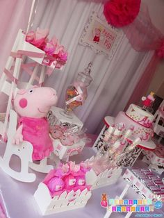 Pretty pink Peppa Pig birthday party! See more party ideas at CatchMyParty.com!