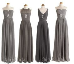 Grey Cheap Simple Mismatched Styles Chiffon Floor-Length Formal Long Bridesmaid Dresses, The long bridesmaid dresses are fully lined, 4 bones in the bodice, chest pad in the bust, lace up back o Charcoal Grey Bridesmaid Dresses, One Shoulder Bridesmaid Dresses, Grey Bridesmaids, Mismatched Bridesmaid Dresses, Wedding Bridesmaid Dresses, Charcoal Grey Dress, Bridesmaid Makeup, Pretty Prom Dresses, Simple Prom Dress