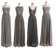 Charcoal grey bridesmaid dresses, long bridesmaid dresses, V- Neck ...